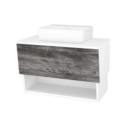 Dřevojas - Koupelnová skříň INVENCE SZZO 80 (umyvadlo Joy 3) - L01 Bílá vysoký lesk / D10 Borovice Jackson (180799)