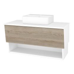 Dřevojas - Koupelnová skříň INVENCE SZZO 100 (umyvadlo Joy 3) - L01 Bílá vysoký lesk / D17 Colorado (183158)