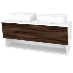 Dřevojas - Koupelnová skříň INVENCE SZZO 125 (2 umyvadla Joy 3) - L01 Bílá vysoký lesk / D06 Ořech (185770)