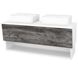 Dřevojas - Koupelnová skříň INVENCE SZZO 125 (2 umyvadla Joy 3) - L01 Bílá vysoký lesk / D10 Borovice Jackson (185800)
