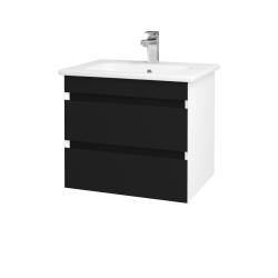 Dřevojas - Koupelnová skříň MAJESTY SZZ2 60 - L01 Bílá vysoký lesk / M03 Černá mat (175238)