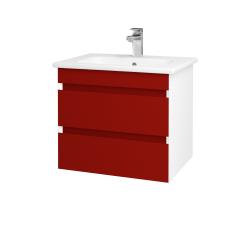 Dřevojas - Koupelnová skříň MAJESTY SZZ2 60 - L01 Bílá vysoký lesk / M07 Červená mat (175252)