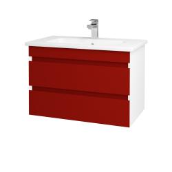 Dřevojas - Koupelnová skříň MAJESTY SZZ2 80 - L01 Bílá vysoký lesk / L07 Červená vysoký lesk (175320)