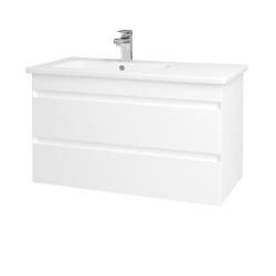 Dřevojas - Koupelnová skříň MAJESTY SZZ2 90 - L01 Bílá vysoký lesk / M01 Bílá mat (175467)