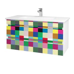 Dřevojas - Koupelnová skříň MAJESTY SZZ2 100 - L01 Bílá vysoký lesk / IND Individual (175566)