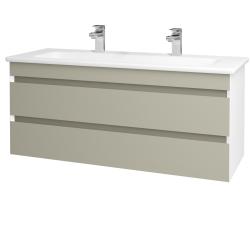 Dřevojas - Koupelnová skříň MAJESTY SZZ2 120 - L01 Bílá vysoký lesk / L04 Béžová vysoký lesk (175672U)