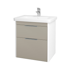 Dřevojas - Koupelnová skříň ENZO SZZ2 65 - L01 Bílá vysoký lesk / M05 Béžová mat (186845)