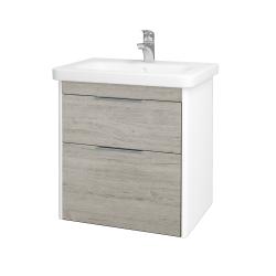 Dřevojas - Koupelnová skříň ENZO SZZ2 65 - L01 Bílá vysoký lesk / D05 Oregon (186937)