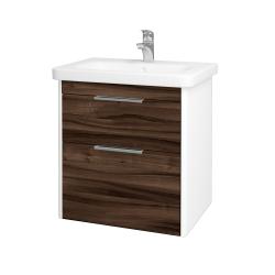 Dřevojas - Koupelnová skříň ENZO SZZ2 65 - L01 Bílá vysoký lesk / D06 Ořech (186944)