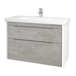 Dřevojas - Koupelnová skříň ENZO SZZ2 100 - L01 Bílá vysoký lesk / D01 Beton (187286)