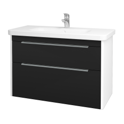 Dřevojas - Koupelnová skříň ENZO SZZ2 100 - L01 Bílá vysoký lesk / N08 Cosmo (187491)