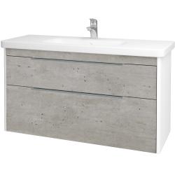 Dřevojas - Koupelnová skříň ENZO SZZ2 120 - L01 Bílá vysoký lesk / D01 Beton (187514)