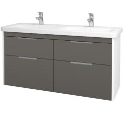 Dřevojas - Koupelnová skříň ENZO SZZ4 130 - L01 Bílá vysoký lesk / N06 Lava (187750)