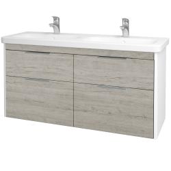 Dřevojas - Koupelnová skříň ENZO SZZ4 130 - L01 Bílá vysoký lesk / D05 Oregon (187828)