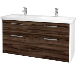 Dřevojas - Koupelnová skříň ENZO SZZ4 130 - L01 Bílá vysoký lesk / D06 Ořech (187835)
