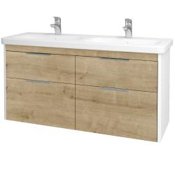 Dřevojas - Koupelnová skříň ENZO SZZ4 130 - L01 Bílá vysoký lesk / D09 Arlington (187859)