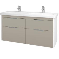 Dřevojas - Koupelnová skříň ENZO SZZ4 130 - L01 Bílá vysoký lesk / L04 Béžová vysoký lesk (187934)