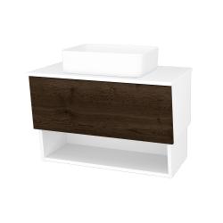 Dřevojas - Koupelnová skříň INVENCE SZZO 80 (umyvadlo Joy) - L01 Bílá vysoký lesk / D21 Tobacco (248680)