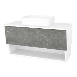 Dřevojas - Koupelnová skříň INVENCE SZZO 100 (umyvadlo Joy) - L01 Bílá vysoký lesk / D20 Galaxy (248758)