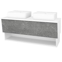 Dřevojas - Koupelnová skříň INVENCE SZZO 125 (2 umyvadla Joy 3) - L01 Bílá vysoký lesk / D20 Galaxy (249038)