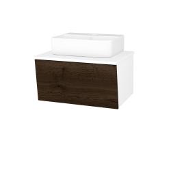 Dřevojas - Koupelnová skříň INVENCE SZZ 65 (umyvadlo Joy 3) - L01 Bílá vysoký lesk / D21 Tobacco (249281)