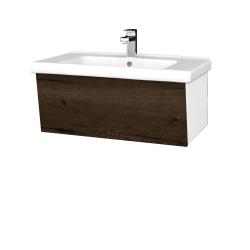 Dřevojas - Koupelnová skříň INVENCE SZZ 80 (umyvadlo Harmonia) - L01 Bílá vysoký lesk / D21 Tobacco (249366)