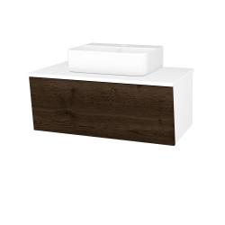 Dřevojas - Koupelnová skříň INVENCE SZZ 80 (umyvadlo Joy 3) - L01 Bílá vysoký lesk / D21 Tobacco (249489)