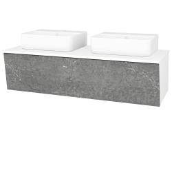 Dřevojas - Koupelnová skříň INVENCE SZZ 125 (2 umyvadla Joy 3) - L01 Bílá vysoký lesk / D20 Galaxy (249878)