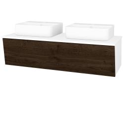 Dřevojas - Koupelnová skříň INVENCE SZZ 125 (2 umyvadla Joy 3) - L01 Bílá vysoký lesk / D21 Tobacco (249885)