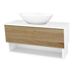 Dřevojas - Koupelnová skříň INVENCE SZZO 100 (umyvadlo Triumph) - L01 Bílá vysoký lesk / A01 Dub (masiv) (250140)