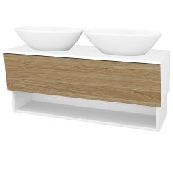 Dřevojas - Koupelnová skříň INVENCE SZZO 125 (2 umyvadla Triumph) - L01 Bílá vysoký lesk / A01 Dub (masiv) (250225)