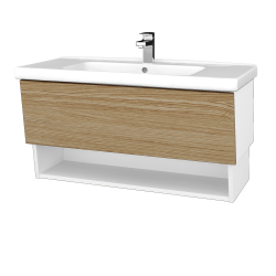 Dřevojas - Koupelnová skříň INVENCE SZZO 100 (umyvadlo Harmonia) - L01 Bílá vysoký lesk / A01 Dub (masiv) (250287)