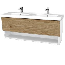 Dřevojas - Koupelnová skříň INVENCE SZZO 125 (dvojumyvadlo Harmonia) - L01 Bílá vysoký lesk / A01 Dub (masiv) (250300)
