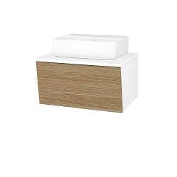 Dřevojas - Koupelnová skříň INVENCE SZZ 65 (umyvadlo Joy 3) - L01 Bílá vysoký lesk / A01 Dub (masiv) (250409)