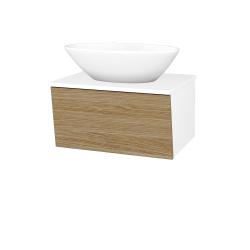 Dřevojas - Koupelnová skříň INVENCE SZZ 65 (umyvadlo Triumph) - L01 Bílá vysoký lesk / A01 Dub (masiv) (250423)
