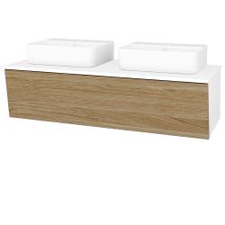 Dřevojas - Koupelnová skříň INVENCE SZZ 125 (2 umyvadla Joy 3) - L01 Bílá vysoký lesk / A01 Dub (masiv) (250652)