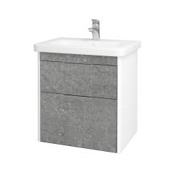 Dřevojas - Koupelnová skříň ENZO SZZ2 65 - L01 Bílá vysoký lesk / D20 Galaxy (250751)