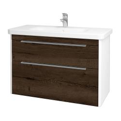 Dřevojas - Koupelnová skříň ENZO SZZ2 100 - L01 Bílá vysoký lesk / D21 Tobacco (250782)
