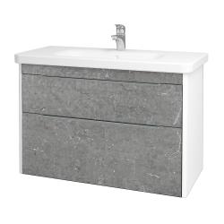 Dřevojas - Koupelnová skříň ENZO SZZ2 100 - L01 Bílá vysoký lesk / D20 Galaxy (250799)