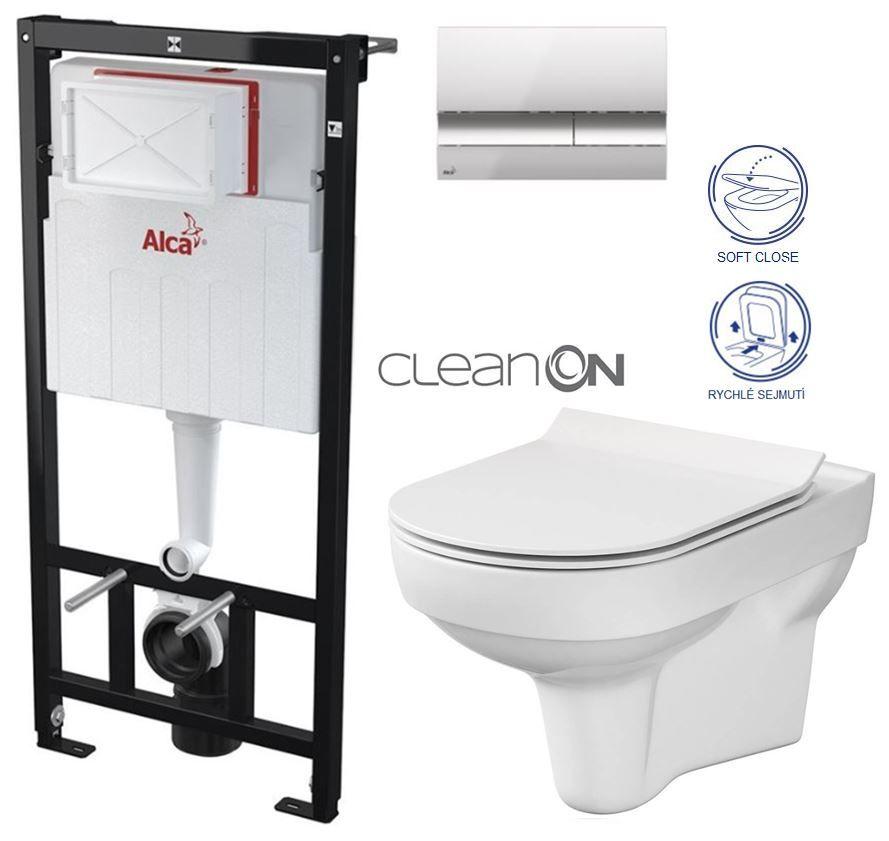 ALCAPLAST Sádromodul předstěnový instalační systém s chromovým tlačítkem M1721 + WC CERSANIT CITY NEW CLEANON + WC SEDÁTKO SLIM AM101/1120 M1721 CI2