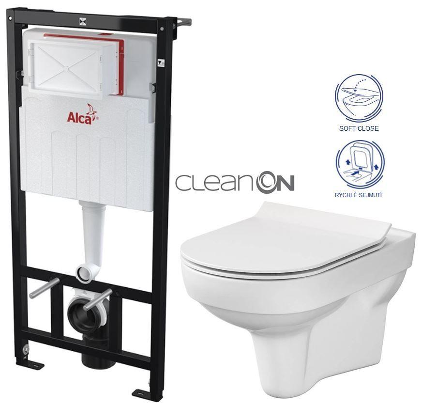 ALCAPLAST Sádromodul předstěnový instalační systém bez tlačítka + WC CERSANIT CITY NEW CLEANON + WC SEDÁTKO SLIM AM101/1120 X CI2