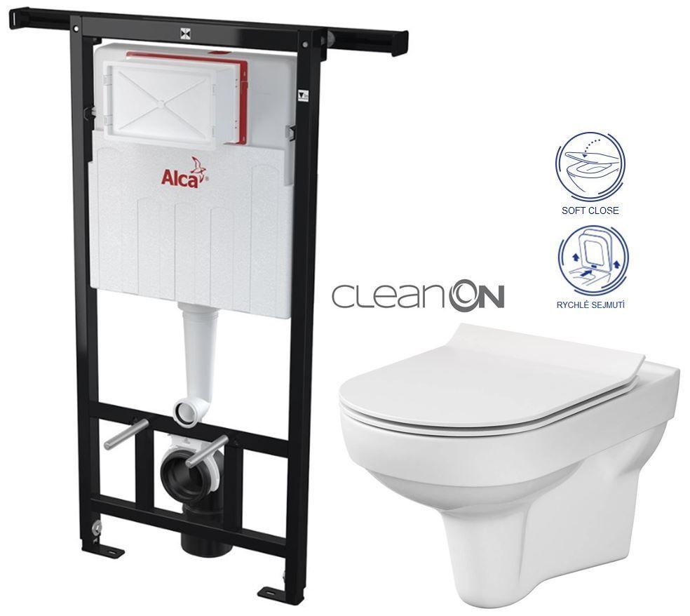 ALCAPLAST Jádromodul předstěnový instalační systém bez tlačítka + WC CERSANIT CITY NEW CLEANON + WC