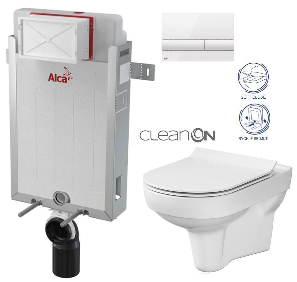 ALCAPLAST Renovmodul předstěnový instalační systém s bílým tlačítkem M1710 + WC CERSANIT CITY NEW CLEANON + WC SEDÁTKO SLIM AM115/1000 M1710 CI2