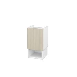 Dřevojas - Nízká skříň INVENCE SNDO 35 - L01 Bílá vysoký lesk / D04 Dub / Pravé (323806P)