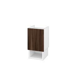 Dřevojas - Nízká skříň INVENCE SNDO 35 - L01 Bílá vysoký lesk / D06 Ořech / Pravé (323820P)