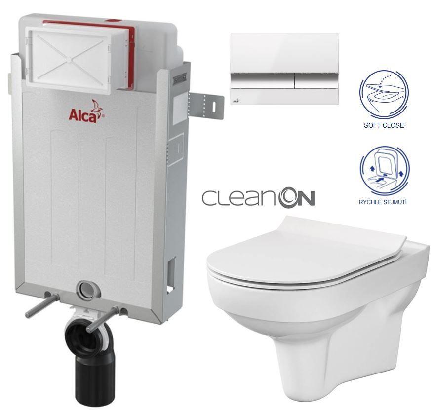 ALCAPLAST Renovmodul předstěnový instalační systém s bílým/ chrom tlačítkem M1720-1 + WC CERSANIT CITY NEW CLEANON + WC SEDÁTKO SLIM AM115/1000 M1720-1 CI2