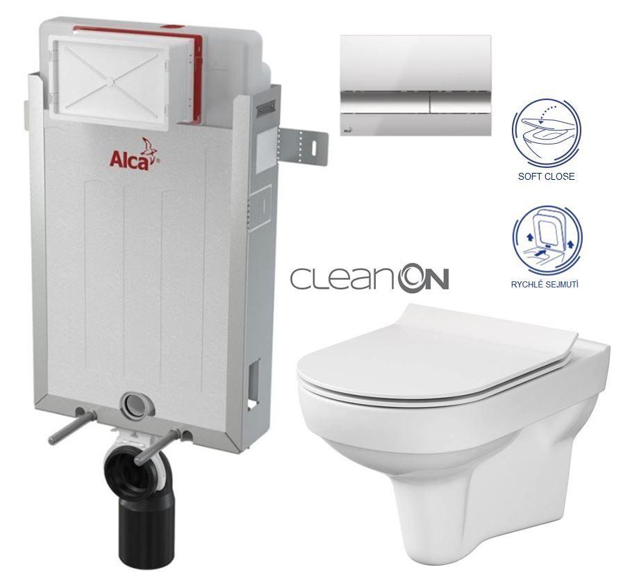 ALCAPLAST Renovmodul předstěnový instalační systém s chromovým tlačítkem M1721 + WC CERSANIT CITY NEW CLEANON + WC SEDÁTKO SLIM AM115/1000 M1721 CI2