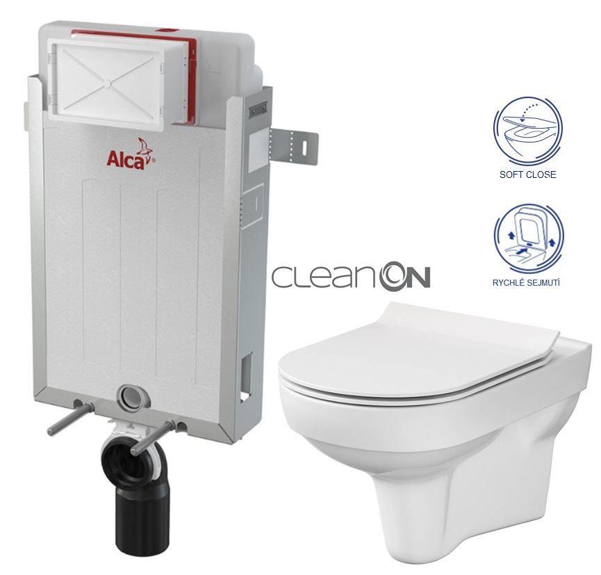 ALCAPLAST Renovmodul předstěnový instalační systém bez tlačítka + WC CERSANIT CITY NEW CLEANON + WC SEDÁTKO SLIM AM115/1000 X CI2