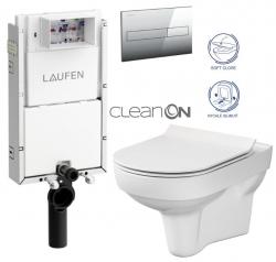 LAUFEN Podomít. systém LIS TW1 SET s chromovým tlačítkem + WC CERSANIT CITY NEW CLEANON + WC SEDÁTKO SLIM (H8946630000001CR CI2)