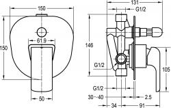 NOVASERVIS - Vanová sprchová baterie s přepínačem KVADRO chrom (35050R,0), fotografie 4/3